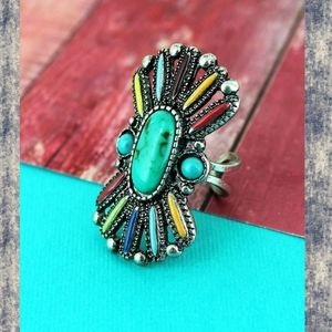 Boho Hippie Gypsy Aztec Insp Turquoise ring